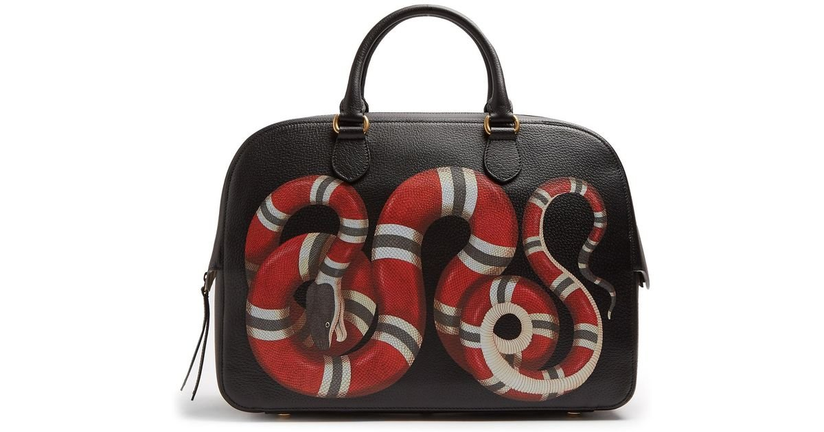 2390fada6b5f6d Gucci Snake Print Leather Duffle in Black for Men - Lyst