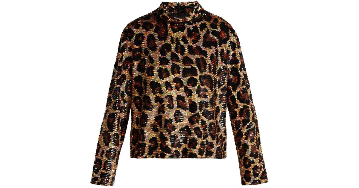 e280b6b8c61d5 Ashish Leopard Print Sequined Top in Brown - Lyst