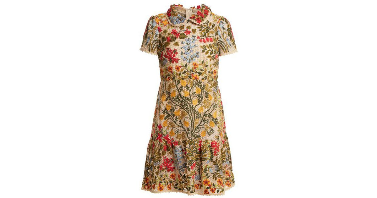 Red Valentino Multicolor Embroidered Fl Mesh Ruffle Hem Dress