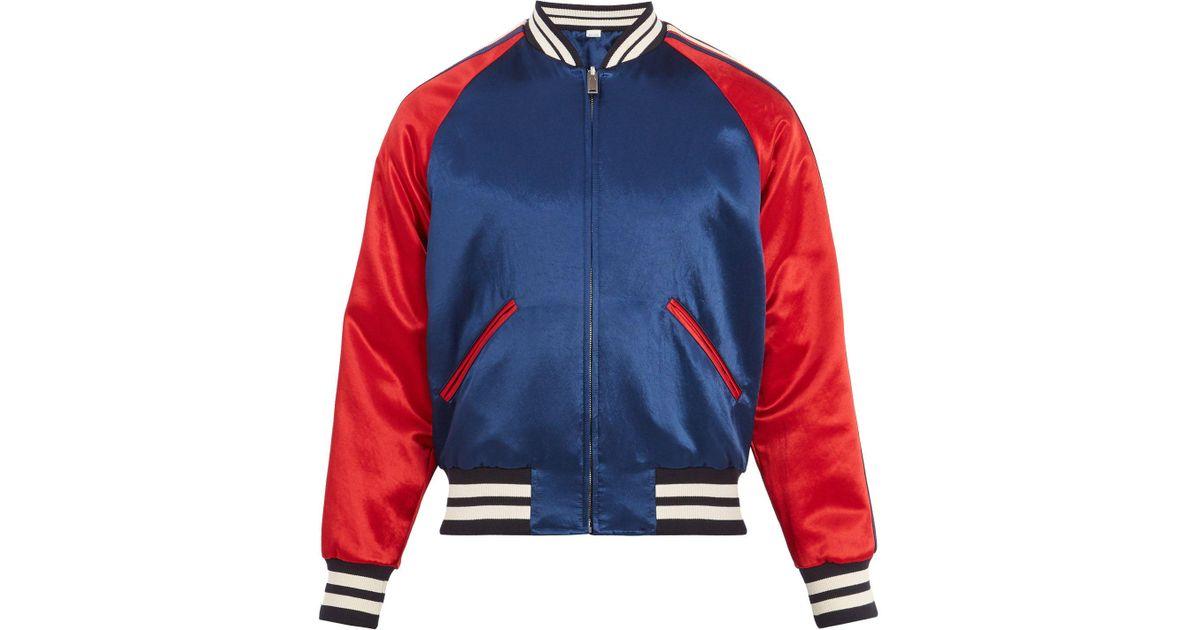 061848b95 Gucci Blue Stripe Reversible Acetate Bomber for men