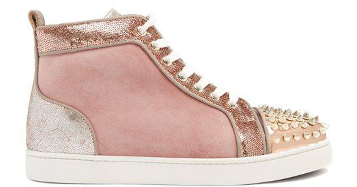 wholesale dealer 16334 2dd5b Christian Louboutin Pink Lou Stud-embellished Suede High-top Trainers