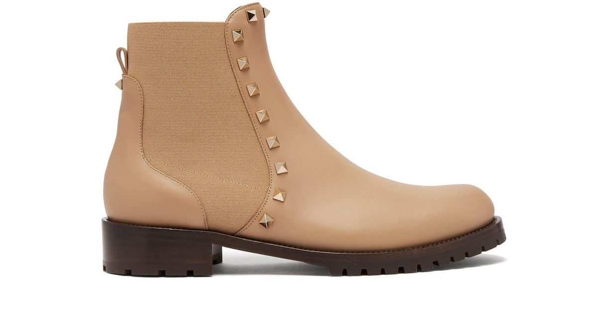 d22c650979563 Lyst - Valentino Rockstud Beatle Leather Chelsea Boots in Brown