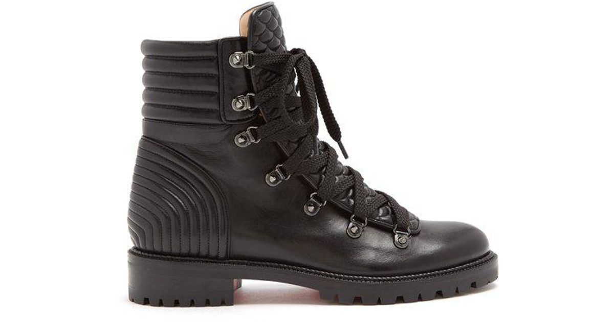 newest 0cc98 7d961 Christian Louboutin Black Mad Lace-up Leather Ankle Boots