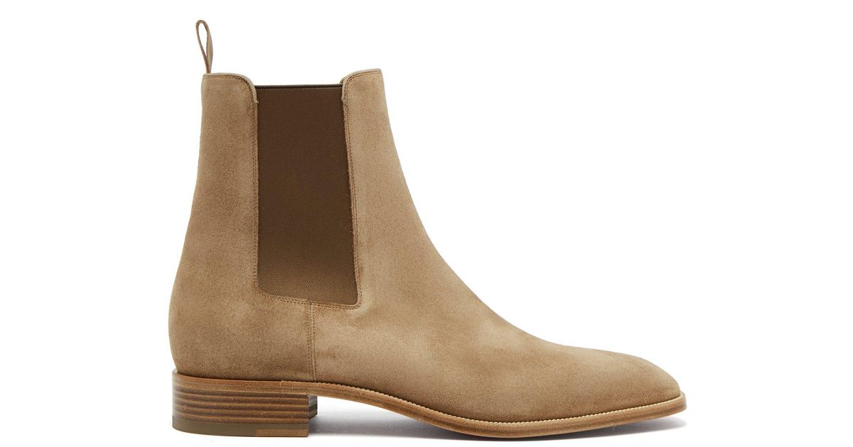 c4ec846332ac Lyst - Christian Louboutin Samson Suede Chelsea Boots in Natural for Men