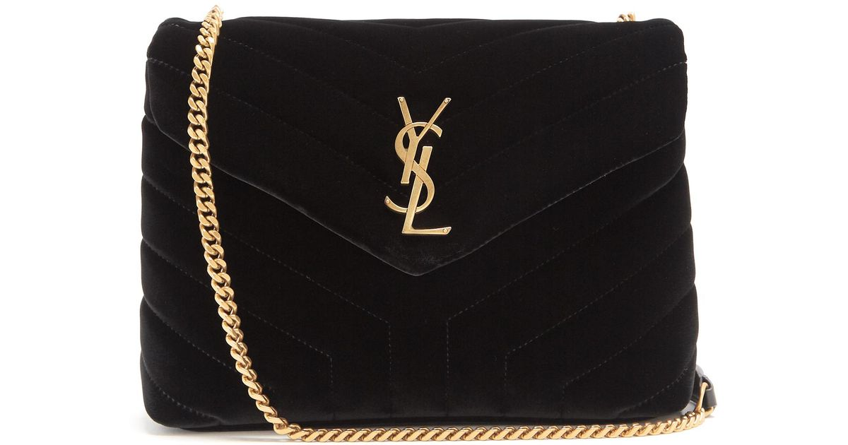 6cd010964 Saint Laurent Loulou Velvet Shoulder Bag in Black - Lyst Saint Laurent  Small Loulou Monogram ...