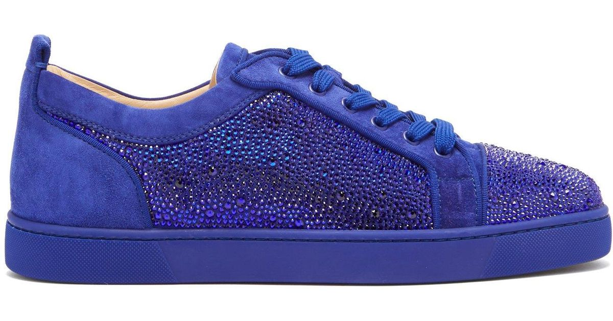 24d735c9bff Christian Louboutin Blue Louis Junior Strass Suede Trainers for men