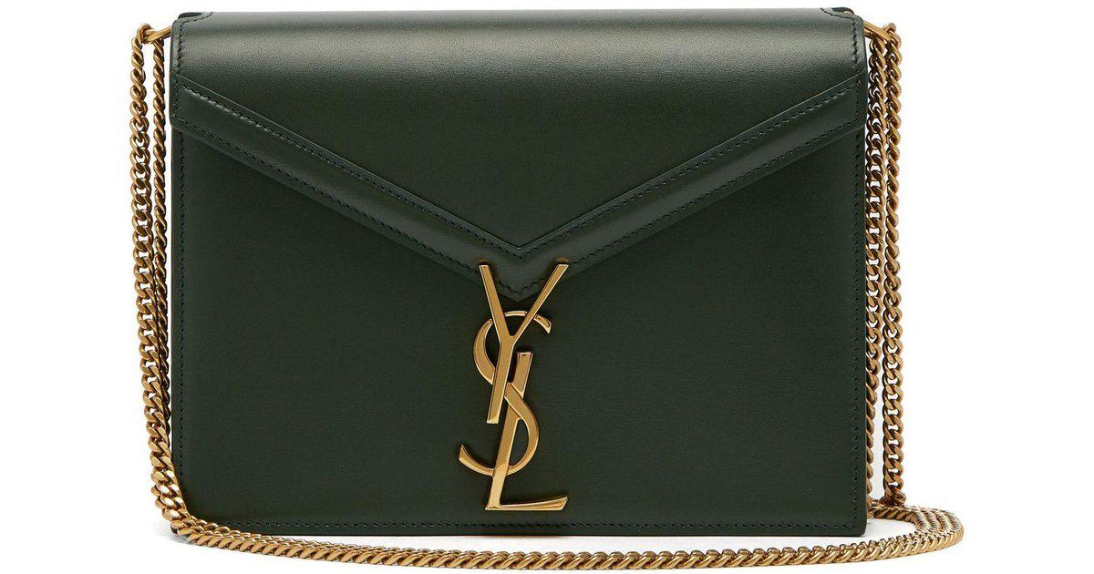 578e7792ee Lyst - Saint Laurent Cassandra Ysl-clasp Leather Cross-body Bag in Green