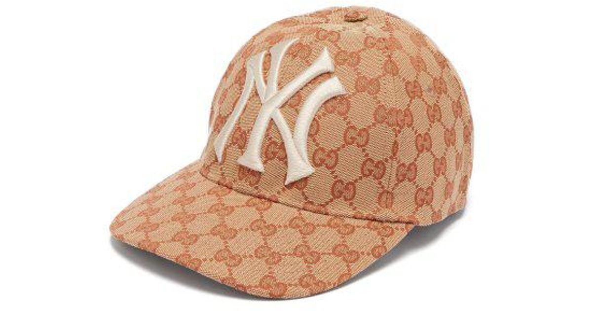 bc092787923629 Gucci Ny Yankees-logo GG-canvas Cap in Natural for Men - Lyst