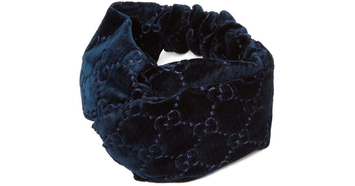 edcd050115 Gucci Blue Gg Devoré Velvet Headband