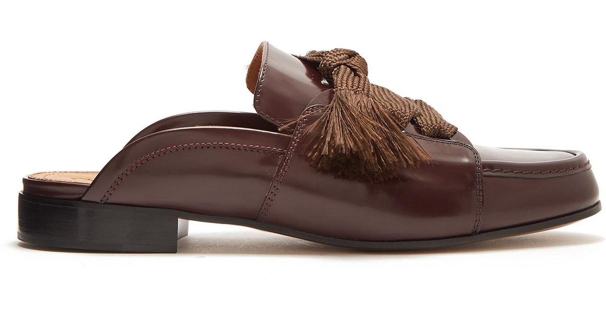 cda21291a37 Lyst - Chloé Harper Lace-up Leather Backless Loafers in Brown