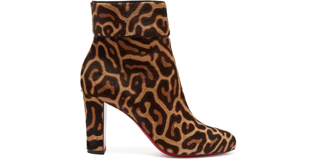 744af4e22cf Christian Louboutin Brown Moulamax 85 Leopard Print Pony Hair Ankle Boots