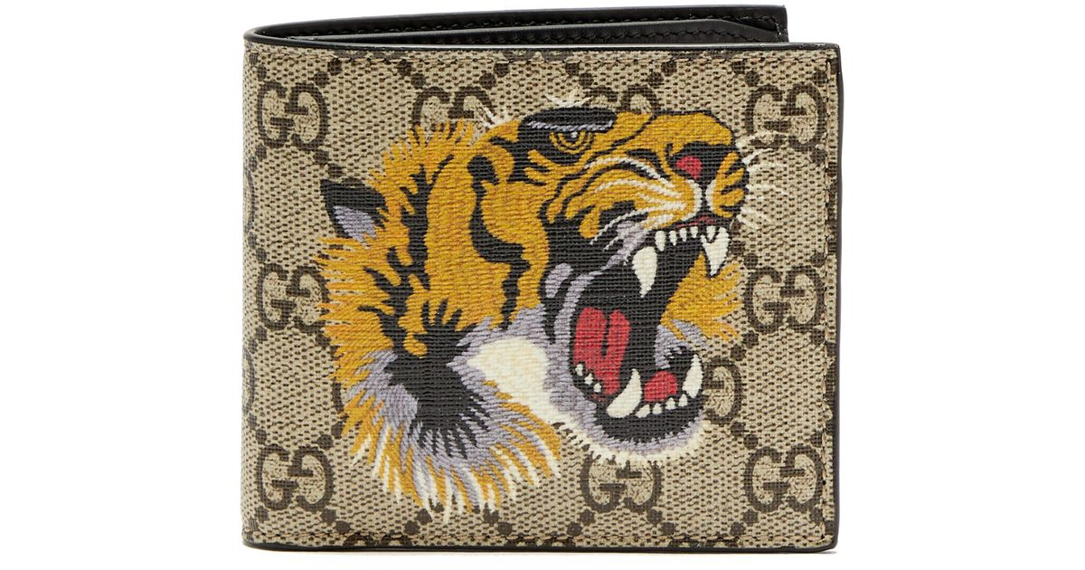 2065ae159b9 Gucci Tiger Print GG Supreme Wallet in Brown for Men - Save 57% - Lyst