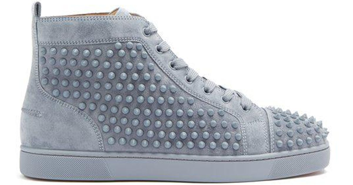 78cb3ddad534 Christian Louboutin Louis Spike-embellished Suede High-top Trainers in Gray  for Men - Lyst