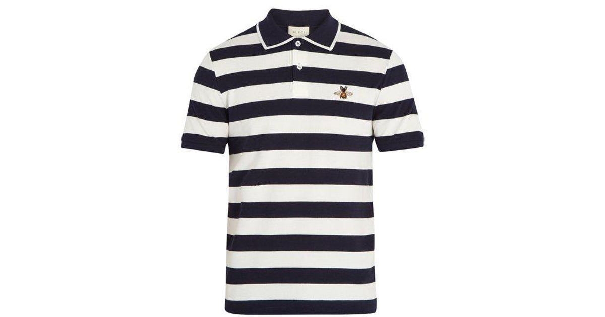 dbf795c3f8bb Gucci Bee-patched Polo in Blue for Men - Lyst