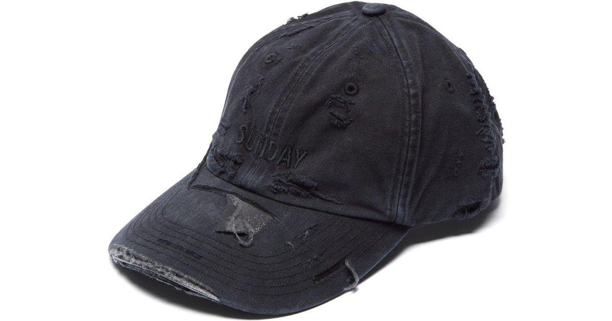 6a0b2a34 Vetements Black X Reebok Weekday Sunday Embroidered Baseball Cap