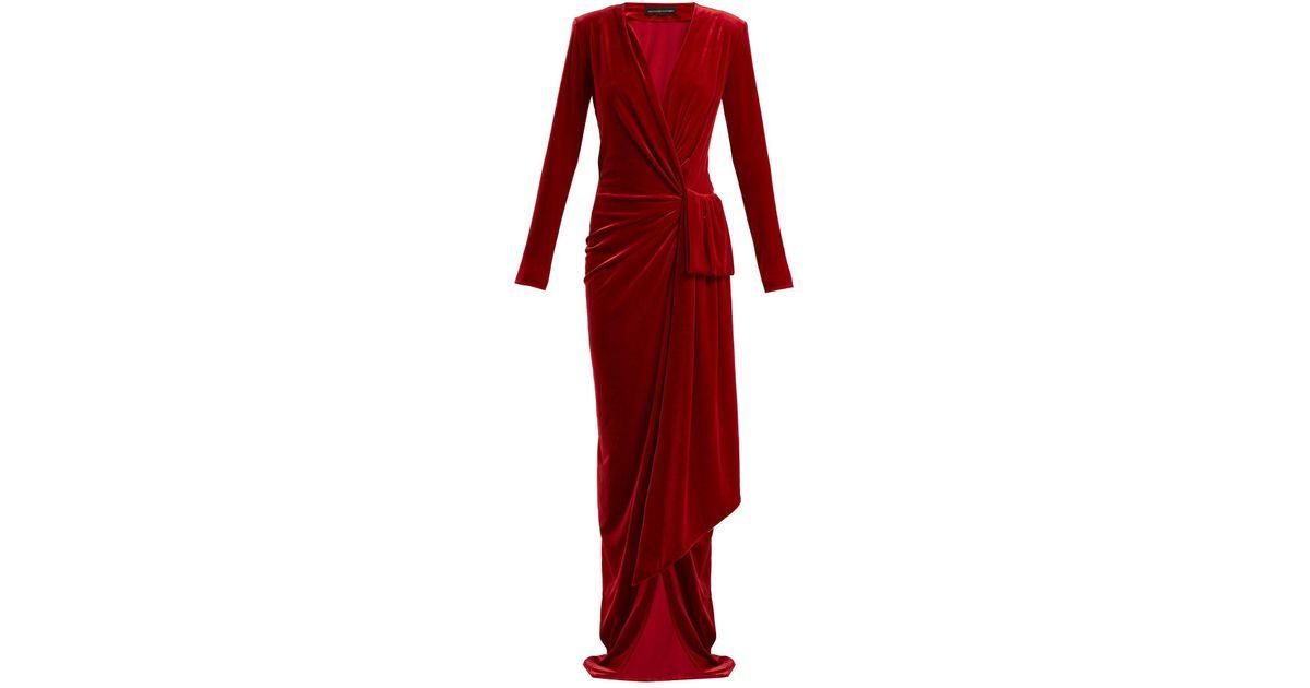 e04e73f89c Alexandre Vauthier Gathered Velvet Wrap Dress in Red - Lyst