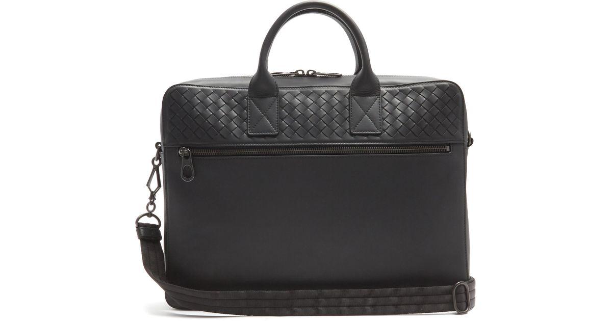 2b39ad95702d Lyst - Bottega Veneta Intrecciato-woven Panel Leather Briefcase in Black  for Men