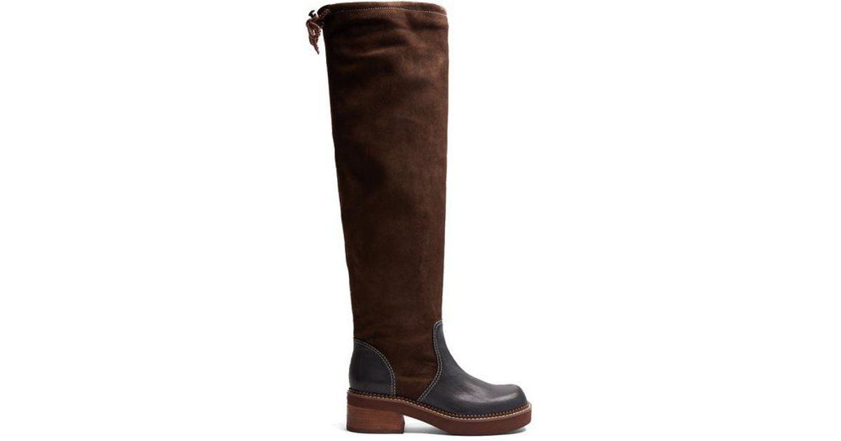78852aa1b0 See By Chloé Brown Dominika Suede And Leather Knee-high Boots