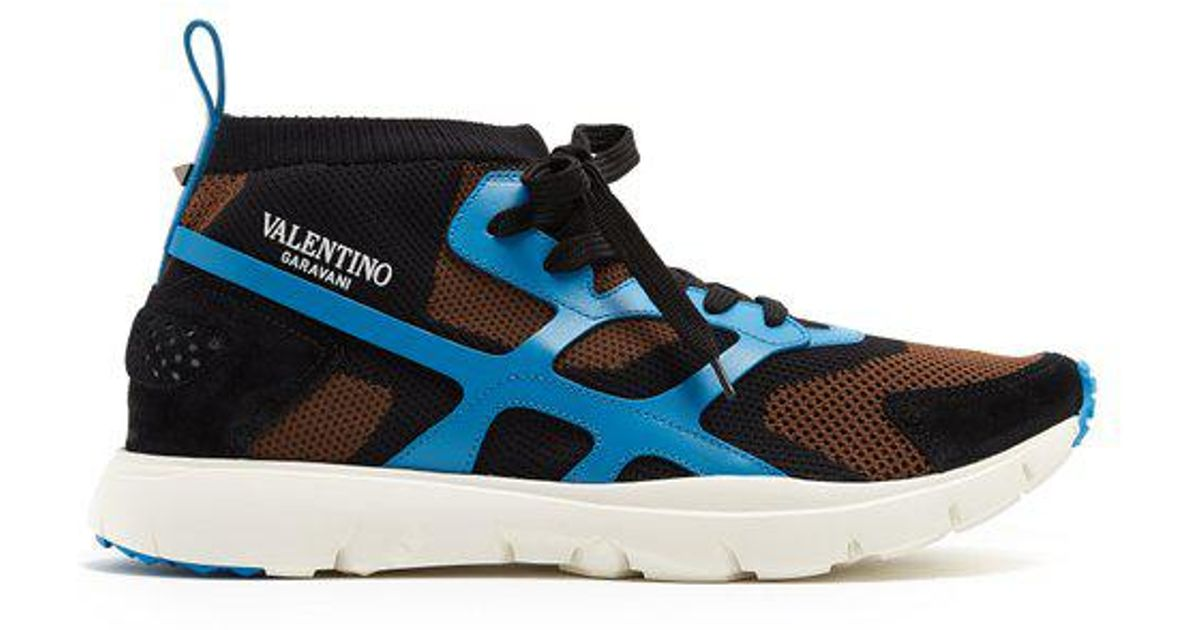 e1e155bc5 valentino-brown-multi-Sound-High-Leather-And-Knit-Low-top-Trainers.jpeg