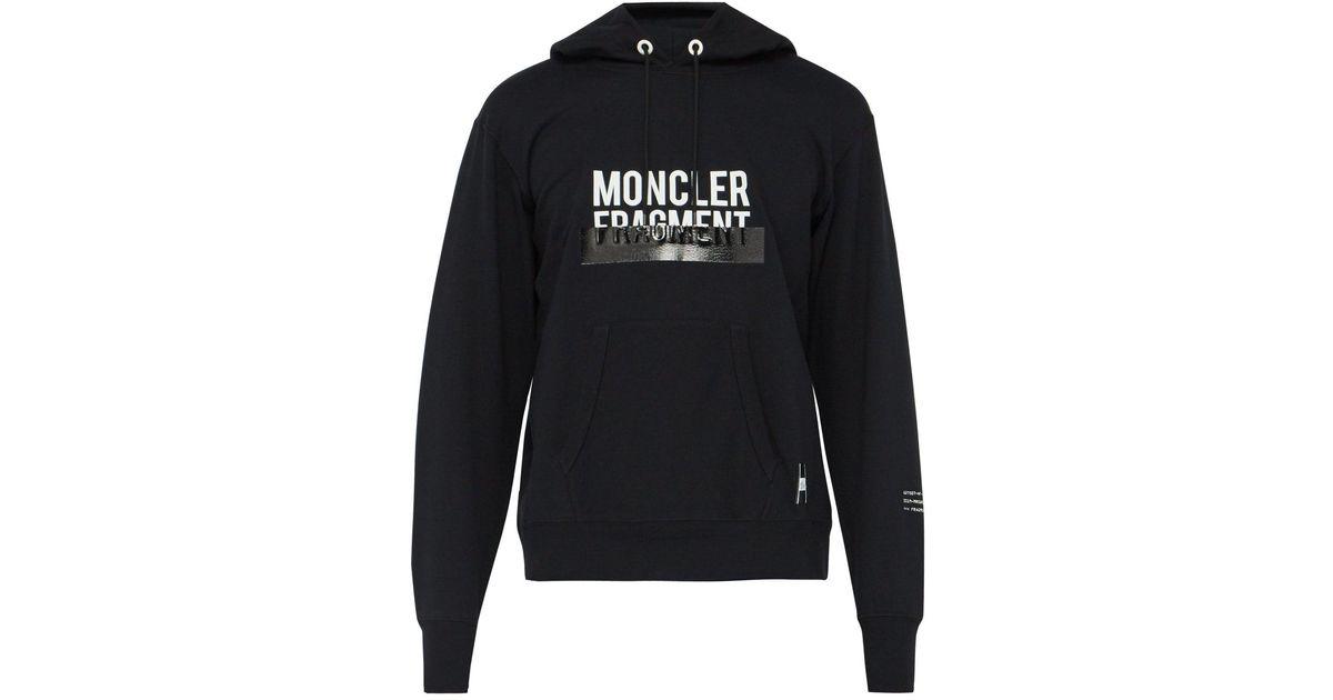 cb66cb55 7 MONCLER FRAGMENT Black Logo Print Hooded Cotton Sweatshirt for men