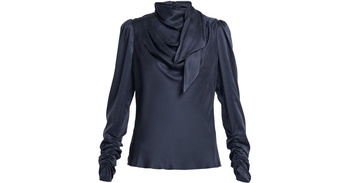 0b9d9d920cd329 Zimmermann Unbridled Neck Tie Silk Satin Blouse in Blue - Lyst