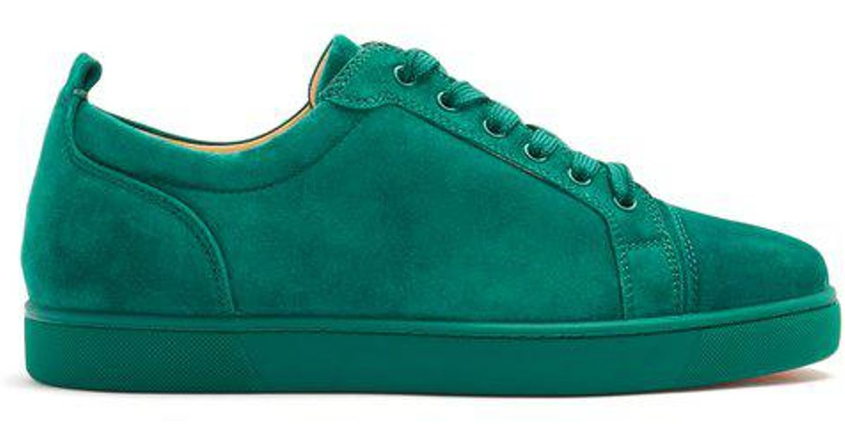 los angeles a9cf6 6a13e Christian Louboutin Green Louis Junior Low-top Suede Trainers for men