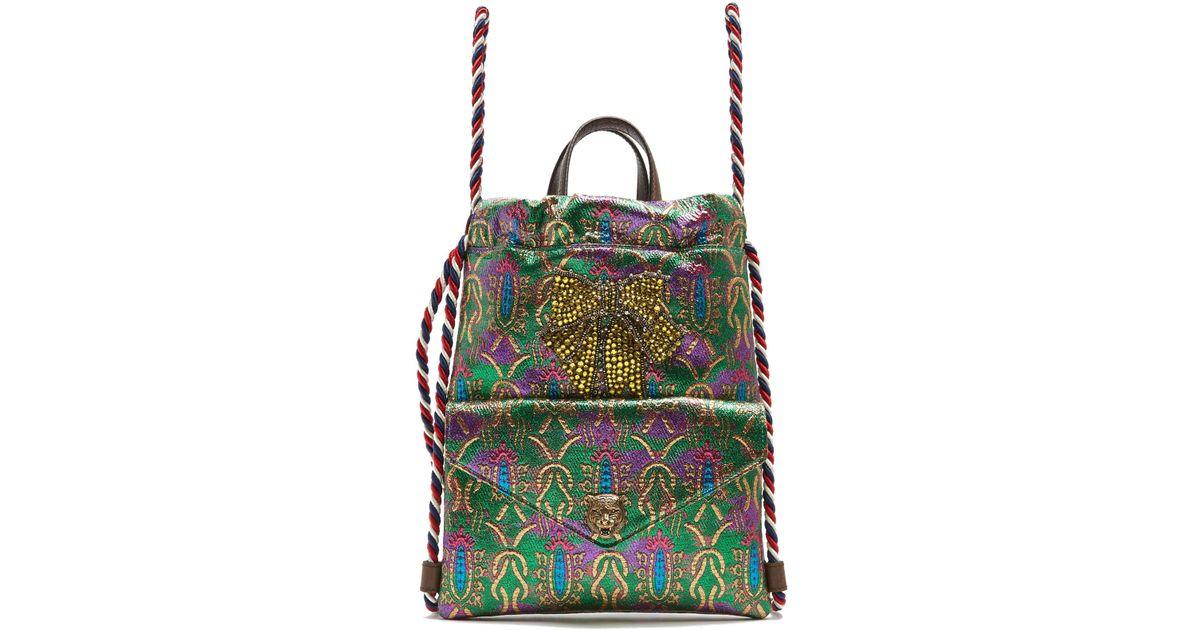73e480034ffd Gucci Embellished Brocade Drawstring Backpack - Lyst