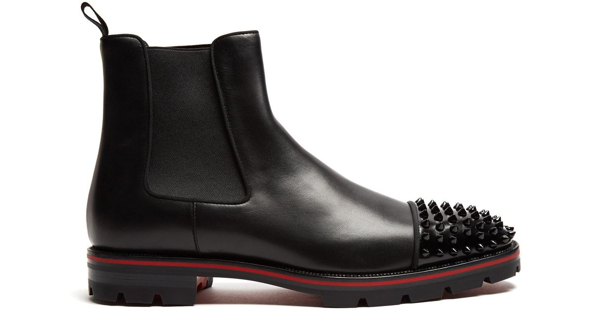 new style 6155c 837a6 Christian Louboutin Black Melon Leather Chelsea Boots for men