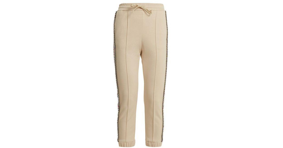 95bca057455 Lyst - Gucci Crystal-embellished Skinny-fit Track Pants in White