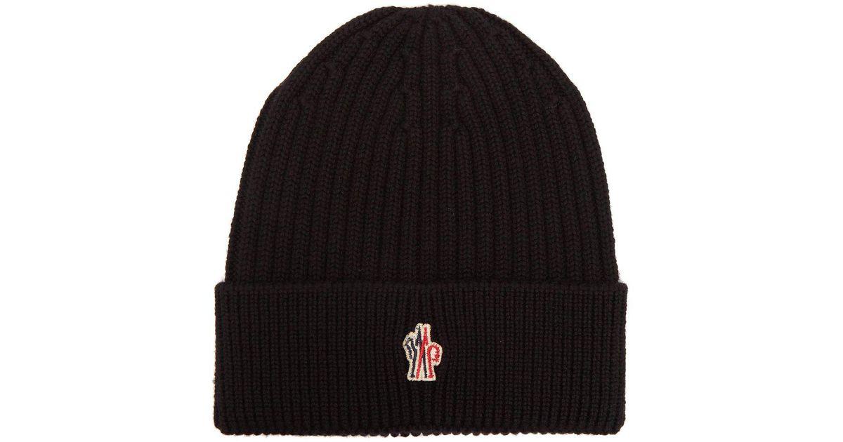 20164309bbc4c Lyst - Moncler Grenoble Logo Virgin Wool Beanie Hat in Black for Men