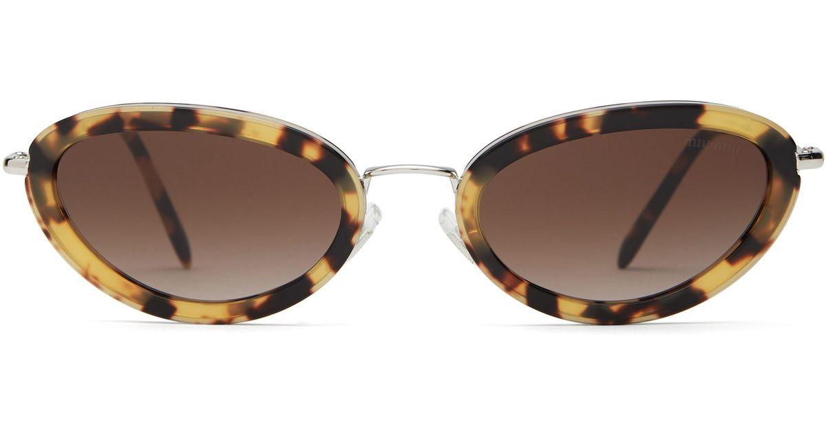 0a37c83a56380 Miu Miu Délice Tortoiseshell Acetate Oval Sunglasses in Brown - Lyst
