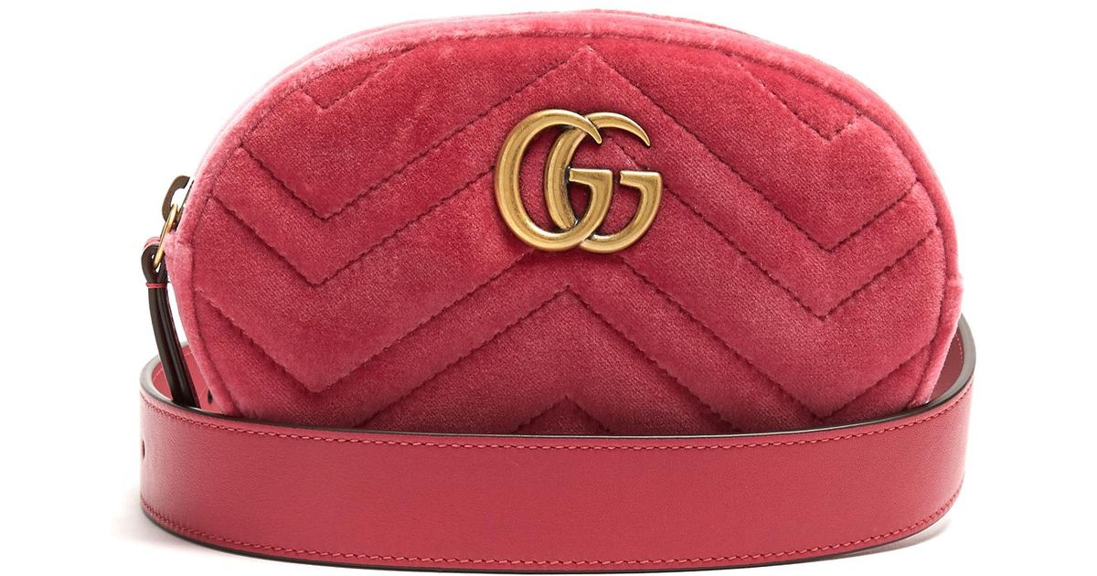 3370378a120 Gucci Gg Marmont Quilted-velvet Belt Bag in Pink - Lyst