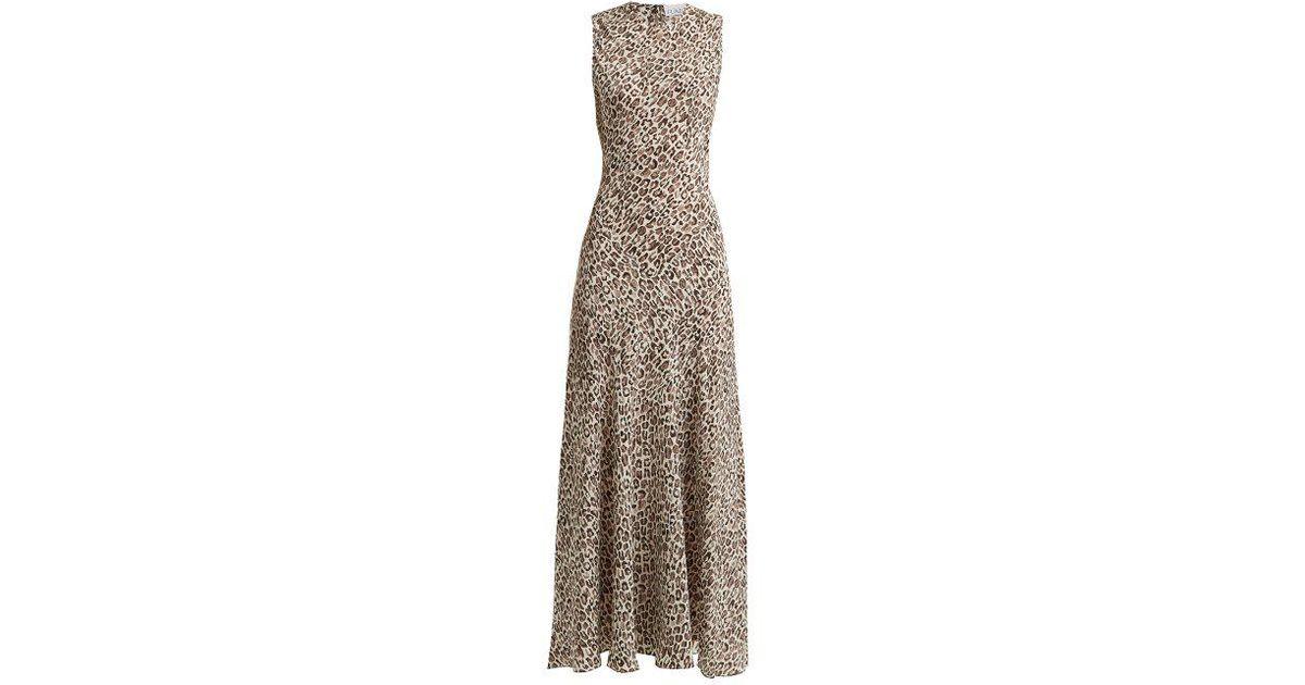 aa85887c99 Raey Painterly Leopard-print Silk Midi Dress in Gray - Lyst