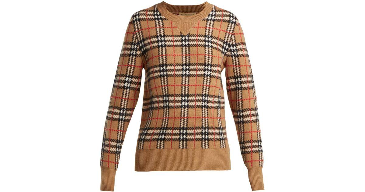 7c0c76de354cec Lyst - Burberry Banbury Vintage Check Cashmere Sweater in Natural