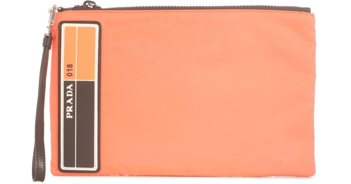 3511c6e9eb82 Prada Orange Leather Clutch in Orange for Men - Lyst