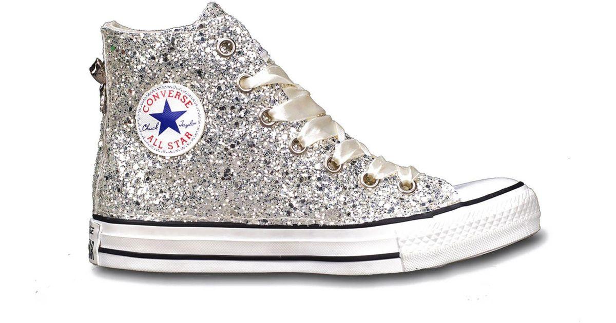 Converse Silver Glitter Hi Top Sneakers