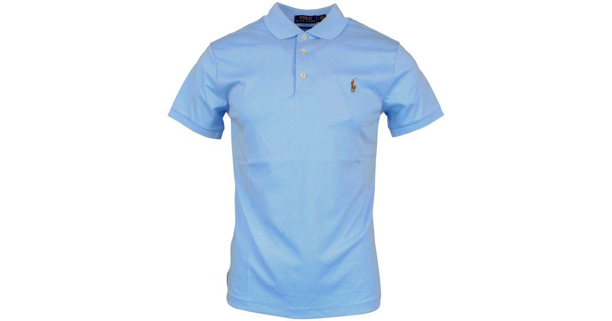 Cotton Men Blue Light Lauren For Ralph Shirt Polo XuPkiZ