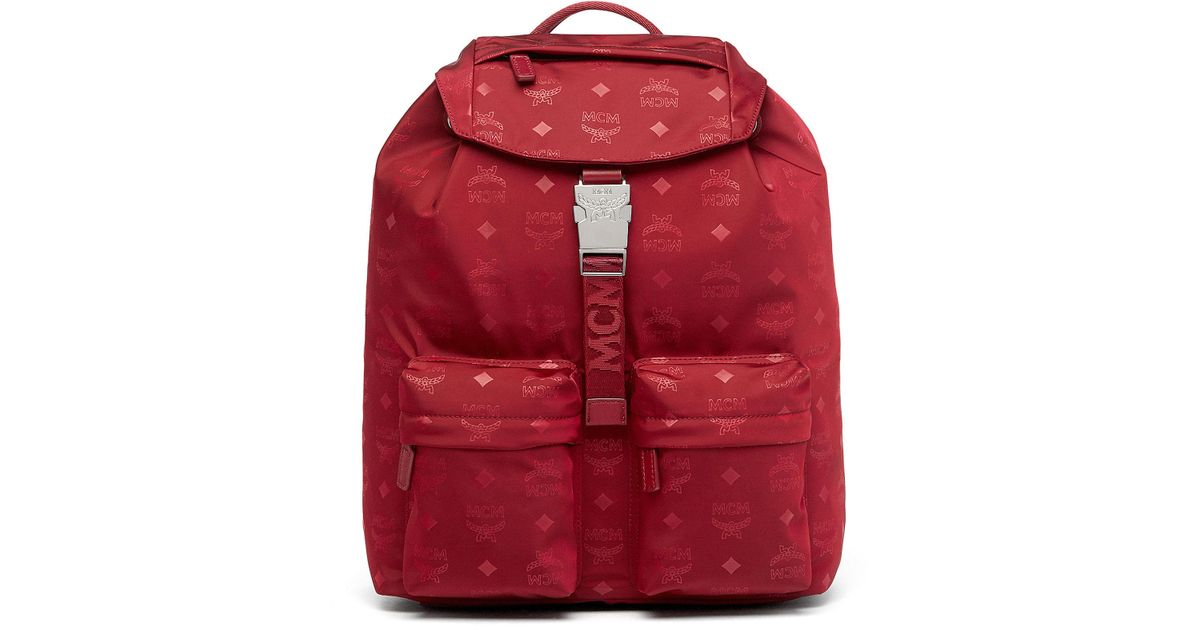 baceb0a97e37 MCM Dieter Two Pocket Backpack In Monogram Nylon in Red - Lyst