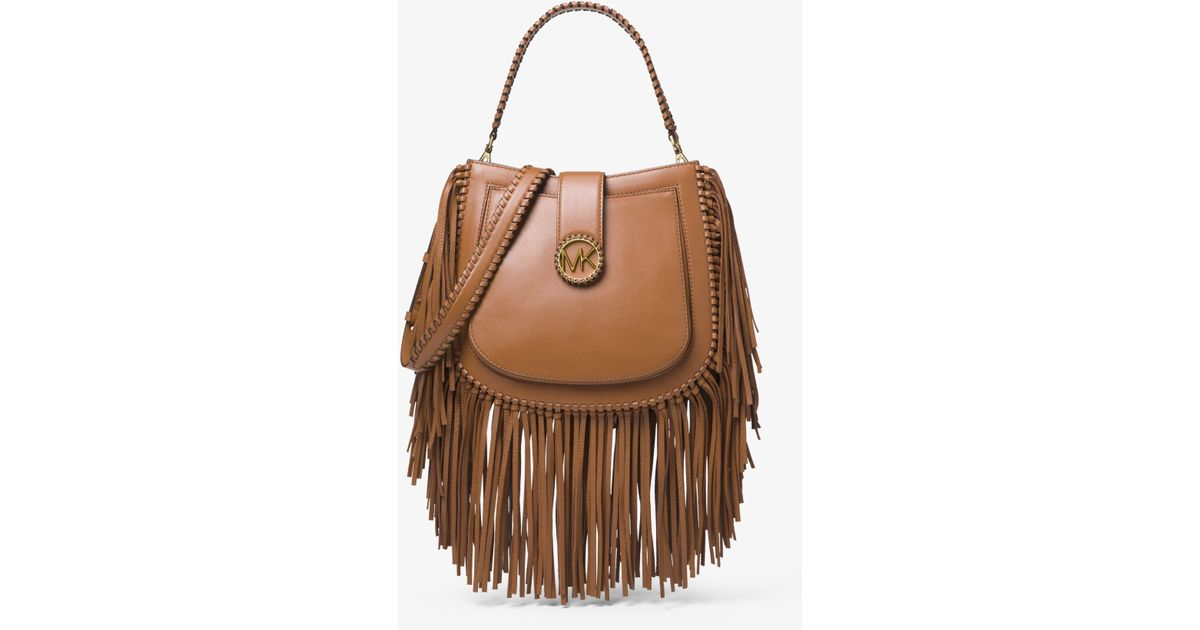 645250bfa116 Michael Kors Lillie Medium Fringed Leather Shoulder Bag in Brown - Lyst