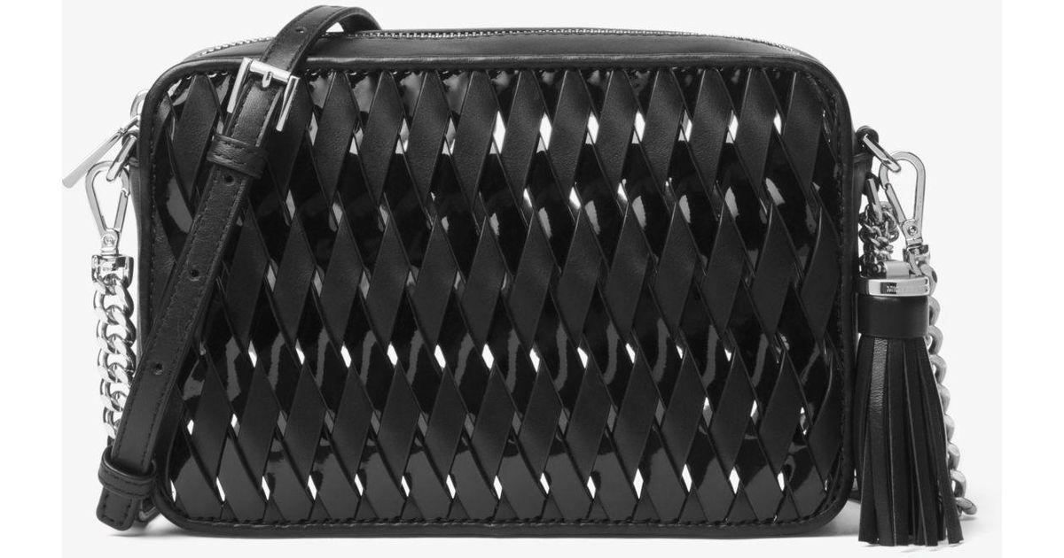 9b799a7e6 Michael Kors Ginny Woven Leather Crossbody in Black - Lyst