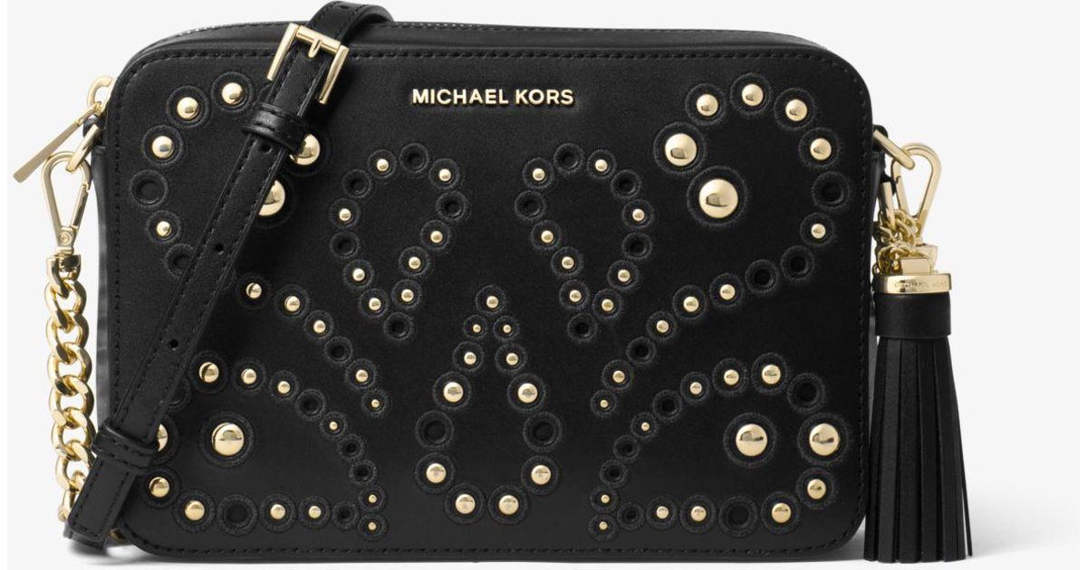 26b2d0333362 Michael Kors Ginny Medium Embellished Leather Crossbody in Black - Lyst