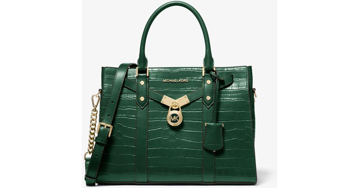Grand sac porté main Nouveau Hamilton en cuir effet crocodile en relief  Michael Kors en coloris Green