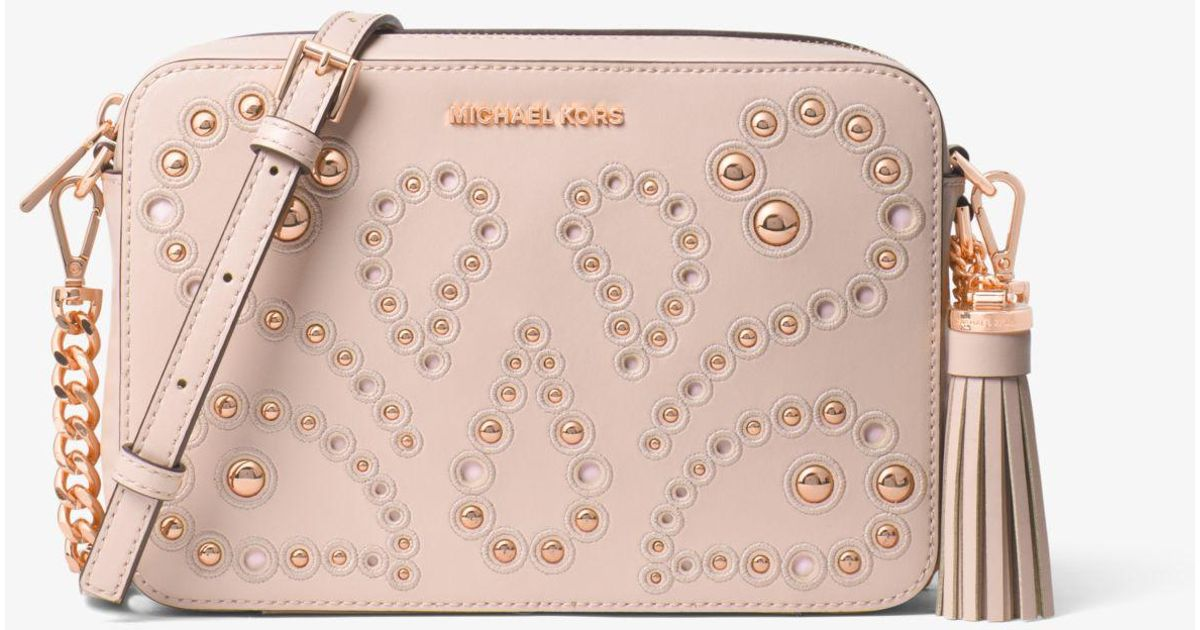 bca20847b Michael Kors Ginny Medium Embellished Leather Crossbody in Pink - Lyst