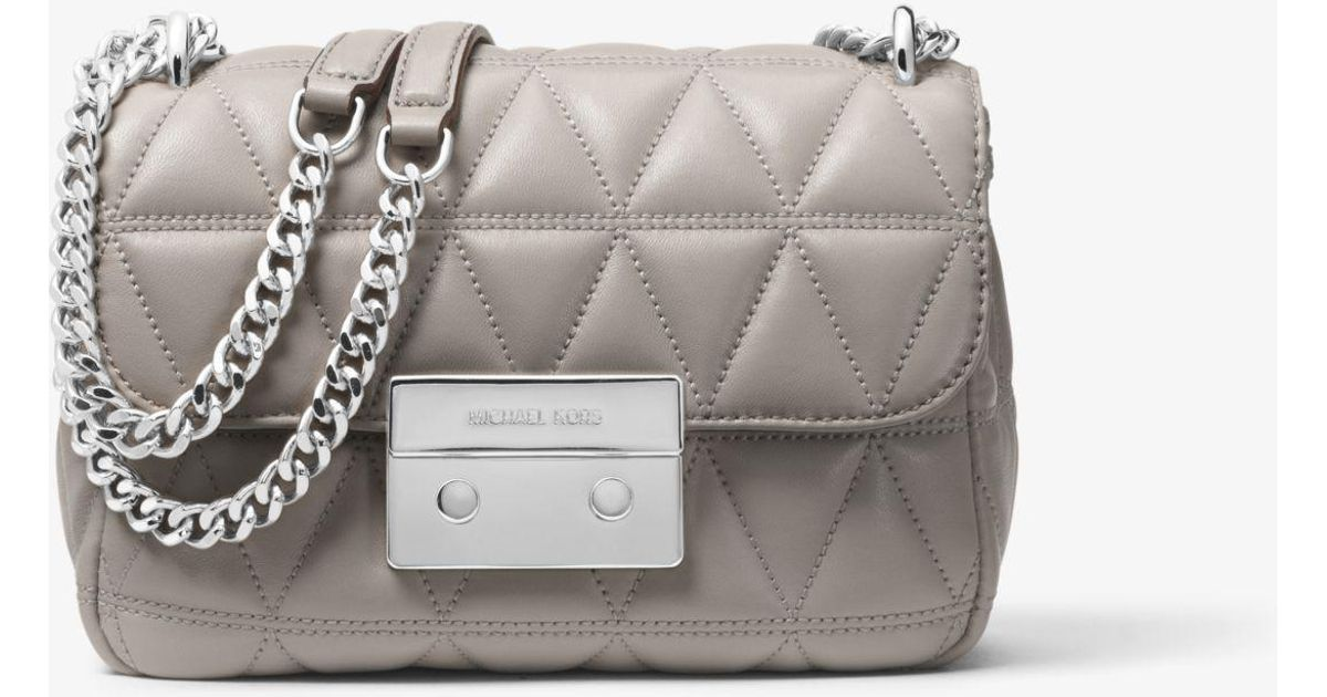 9ed21f9e47340d Michael Kors Sloan Small Quilted Leather Crossbody Bag in Gray - Lyst