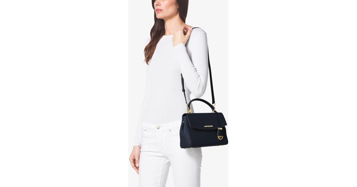 13d8d699c0ba1a Michael Kors Ava Small Saffiano Leather Crossbody Bag in Blue - Lyst