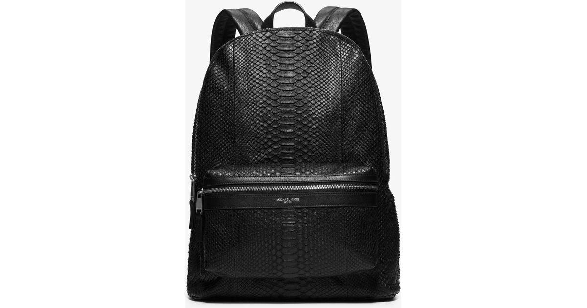 7e0de8bb5dd7 Michael Kors Python Backpack in Black for Men - Lyst