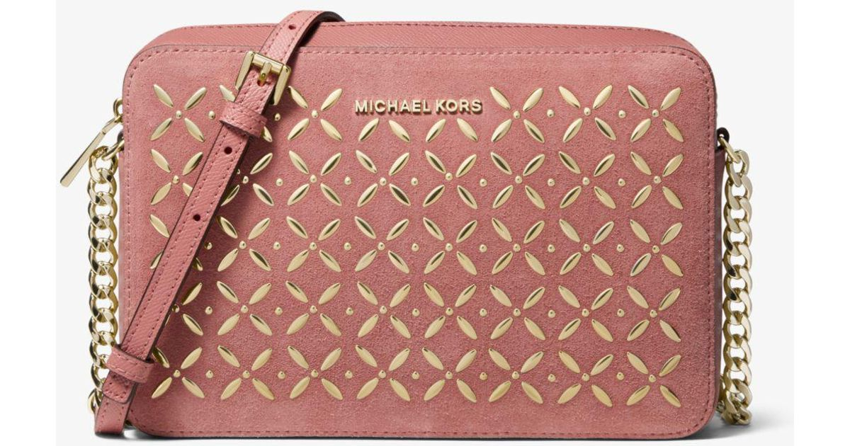 afa8e9fd1cf3 Michael Kors Jet Set Large Embellished Leather Crossbody in Pink - Lyst
