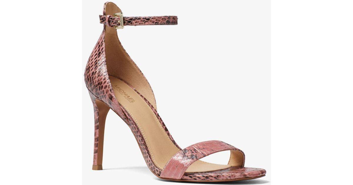 42eb142534f0 Lyst - Michael Kors Harper Snakeskin Sandal in Pink