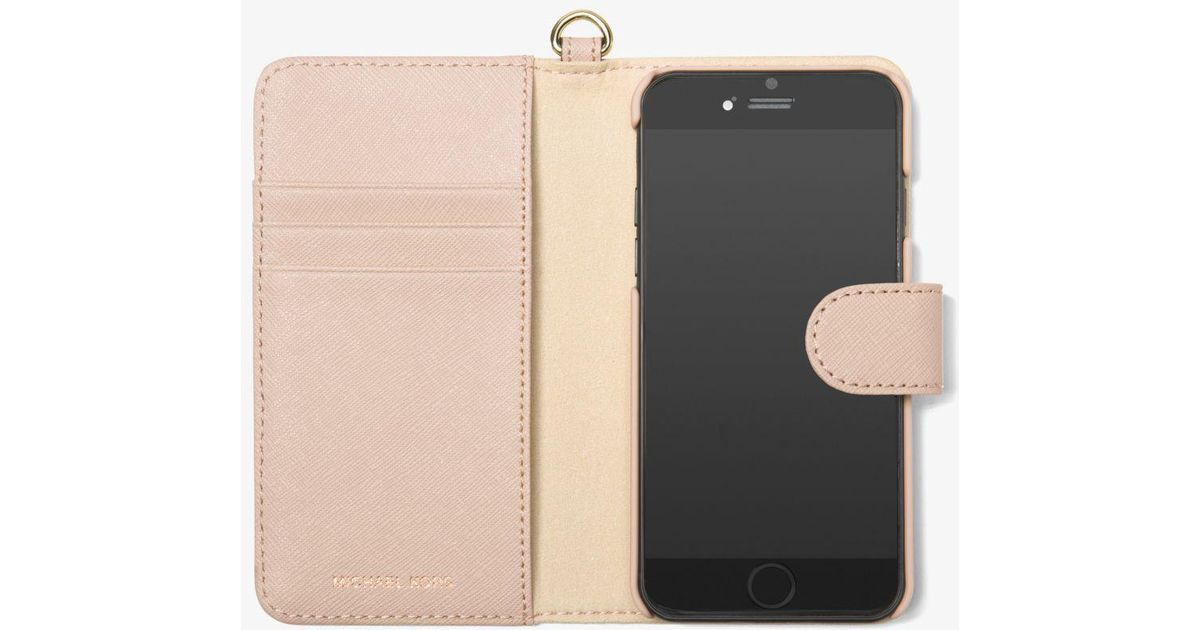 quality design f28e8 37d40 Michael Kors Pink Perforated Leather Folio Phone Case For Iphone 7