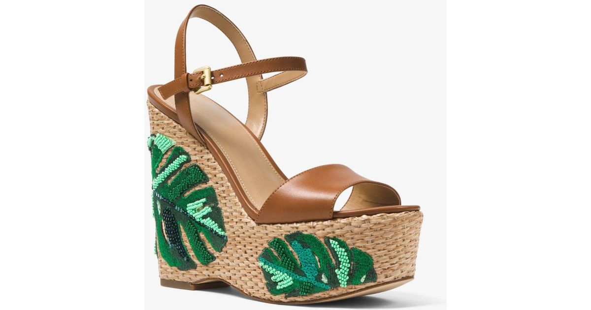 649d18ead66 Michael Kors Fisher Palm Embroidered Wedge - Lyst